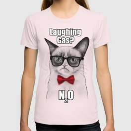 Grumpy Chemistry Cat Geek Science Meme Whimsical Animals in Glasses T-shirt
