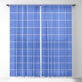 Grid Pattern Bright Cobalt Blue 003DCE Stripe Line Minimal Stripes Lines Spring Summer Sheer Curtain