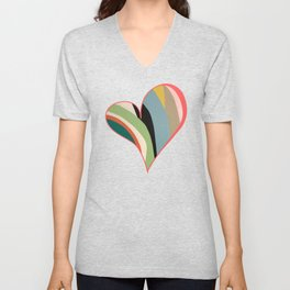 Big Hearted, Big Love, Colorful Heart Painting by Christie Olstad Unisex V-Neck