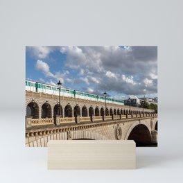 Metro crossing Bercy bridge - Paris Mini Art Print