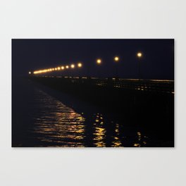 Water Lights on Pier Canvas Print
