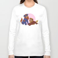 pit bull Long Sleeve T-shirts featuring Pit Bull Shisa Guardians by AlliePets