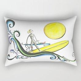 Girl Surfer Rectangular Pillow