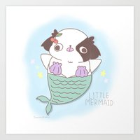"Japanese chin Mochio ""LITTLE MERMAID ANMITSU"" Art Print"