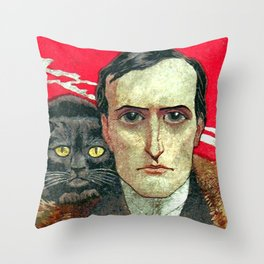 Cat man Throw Pillow