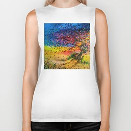 Golden Twisted Tree Expressive Painting by annmariescreations Biker Tank