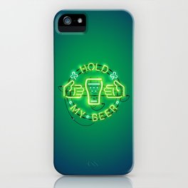 Hold My Beer Neon Sign Green iPhone Case