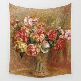 """Auguste Renoir """"Roses dans un vase de Sèvres"""" Wall Tapestry"""