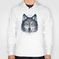 wolf Hoodies featuring Wolf by Laura Graves