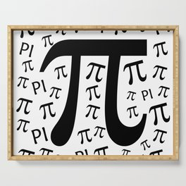The Pi symbol mathematical constant irrational number, greek letter, background Serving Tray