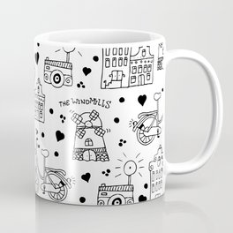 Hello Amsterdam Dutch Hipster travel icons bike and windmill Coffee Mug