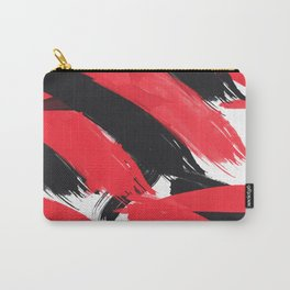 Modern Abstract Black Red Brush Strokes Pattern Carry-All Pouch