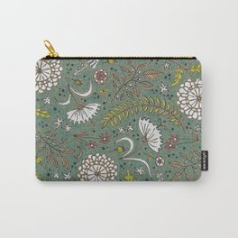 Rustic Teal Floral Pattern Carry-All Pouch