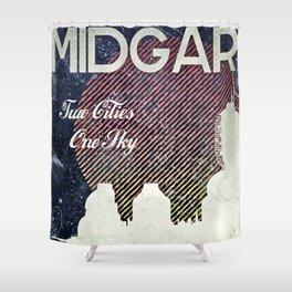 Final Fantasy VII - Midgar Tribute Poster *Distressed* Shower Curtain