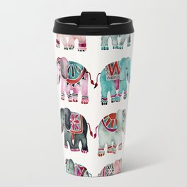 Elephant Collection – Turquoise & Coral Palette Travel Mug