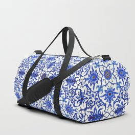 Art Nouveau Chinese Tile, Cobalt Blue & White Duffle Bag