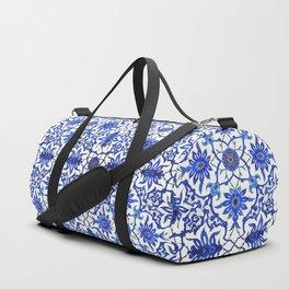 Art Nouveau Chinese Tile, Cobalt Blue & White Duffle Bag