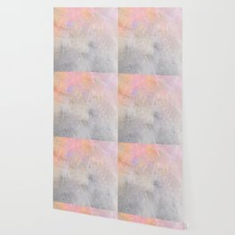 Pastel Candy Iridescent Marble on Concrete Wallpaper