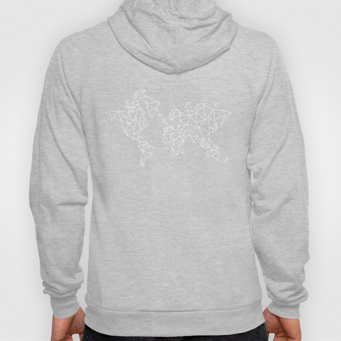 White on Black Geometric Low Poly Map of The World / Polygon geometry Hoody