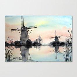 Windmills at dawn Canvas Print