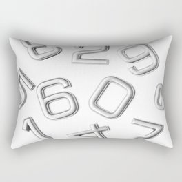 Silver numbers on white Rectangular Pillow