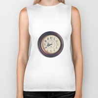 wall clock Biker Tanks featuring Old wall clock by Elisabeth Coelfen