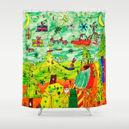 Christmas Village | Painting by Elisavet Shower Curtain