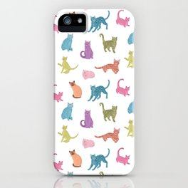 Colourful cats pattern iPhone Case
