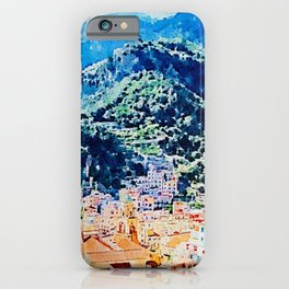 Amalfi Mountain and Houses iPhone Case