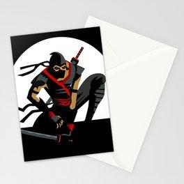 ninja warrior and full moon Stationery Cards