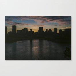 Montreal Skyline Silhouette Canvas Print