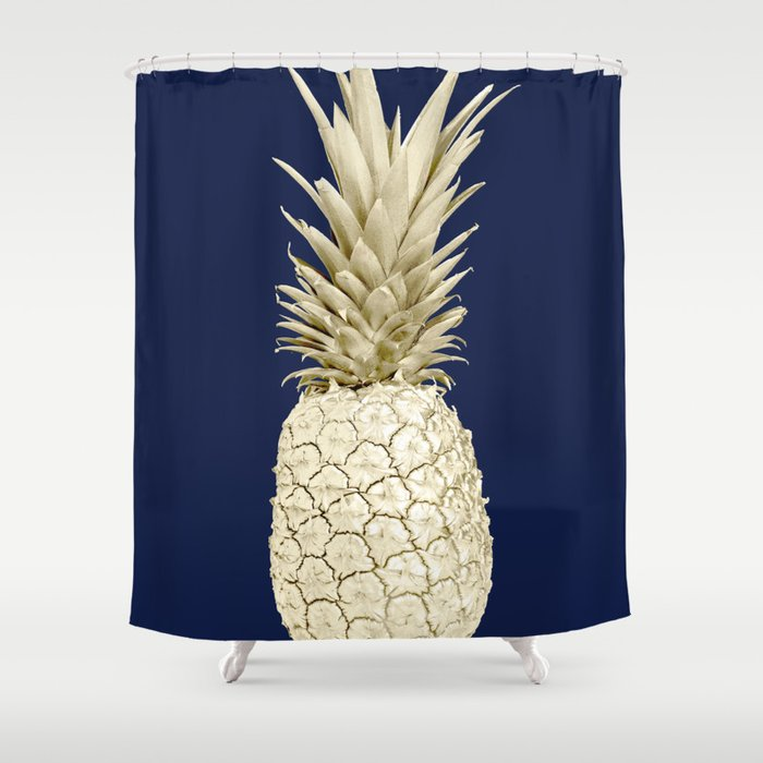Pineapple Pineapple Gold on Navy Blue Shower Curtain by luxuryhome ...