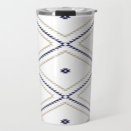 Navajo Pattern - Tan / Navy / White Travel Mug