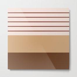 Geometric Lines in Terracotta Shades Metal Print