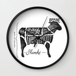 Lamb meat chart Wall Clock
