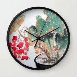 Begonia Flowers Wall Clock