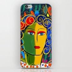 The Green Yellow Pop Girl Portrait iPhone Skin