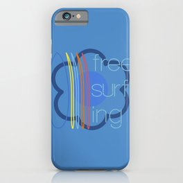 Free surfing blue iPhone Case