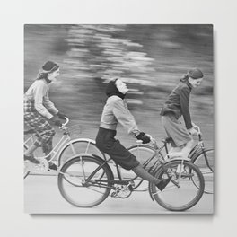 Women Riding Bicycles black and white photography / black and white photographs Metal Print