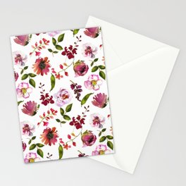 Gentle Scattered Pink and Coral Peonies on White  Stationery Cards