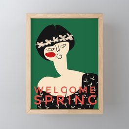 "Girl with flower crown- with caption ""Welcome Spring"" Framed Mini Art Print"