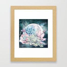 Beautiful Succulents Full Moon Teal Pink Framed Art Print