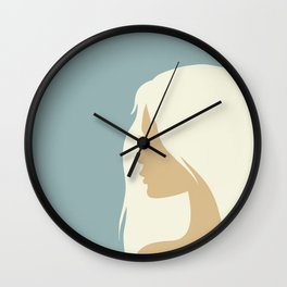 blonde girl in profile Wall Clock