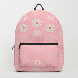 Delicate little flowers and stars on soft pastel pink Backpack