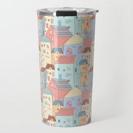 Cute Houses Collection, Town Seamless Pattern, Digital Clipart, Pattern, Cute Illustration Travel Mug