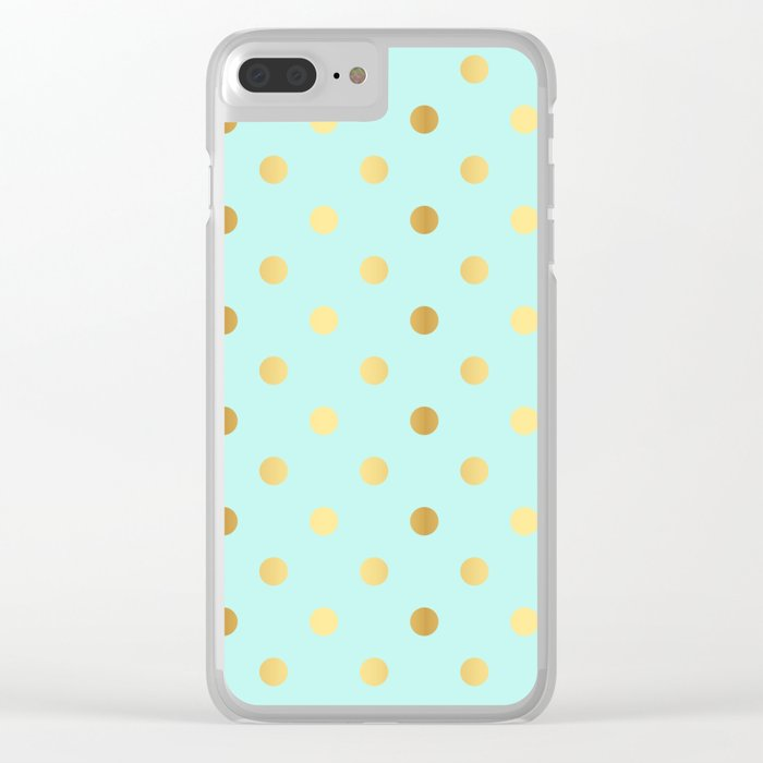 Gold foil glitter polka dots on teal Clear iPhone Case