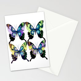 Modern Art Deco Retro Butterflies Stationery Cards