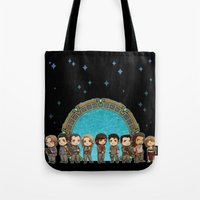stargate Tote Bags featuring Cast of Stargate Atlantis by Ravenno