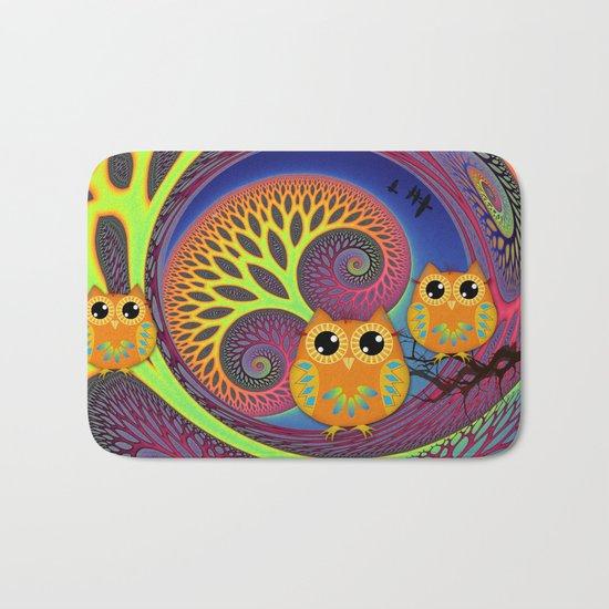 Owls in a magical tree Bath Mat