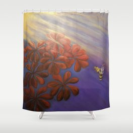 Geranium Bee Shower Curtain